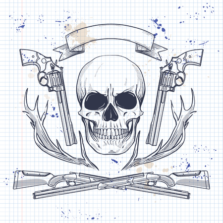 Hand drawn hunter skull 일러스트