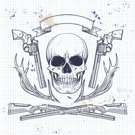 Hand drawn hunter skull Illustration
