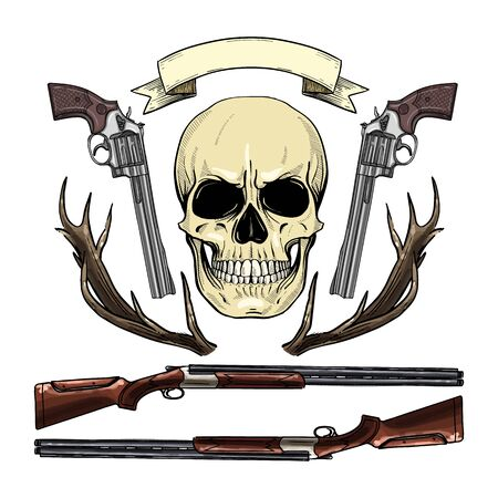 Hand drawn sketch, color skull with rifles, guns, antler and ribbon for text Illustration
