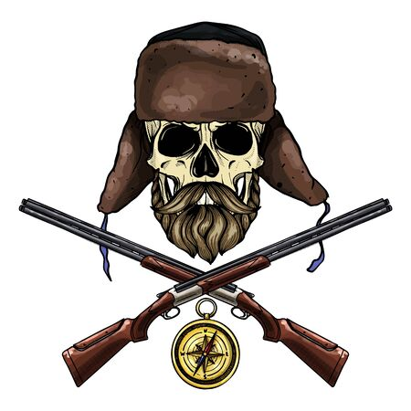 Hand drawn sketch, color skull with beard and mustaches, hat with ear flaps, rifles and compass