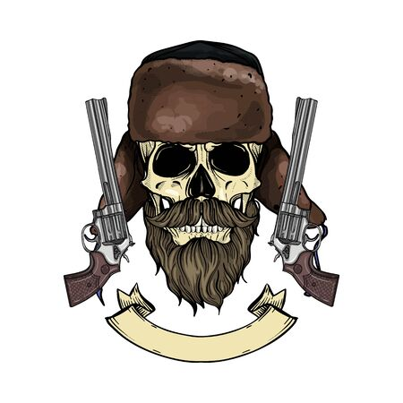 Hand drawn sketch, color skull with beard and mustaches, hat with ear flaps, guns and ribbon for text