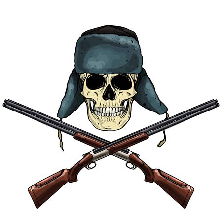 Hand drawn sketch, color skull with hat with ear flaps, rifles