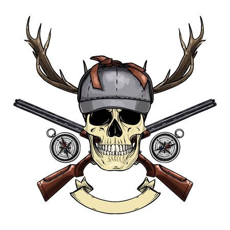 Hand drawn sketch, color skull with hunter hat, rifles, compass and antler