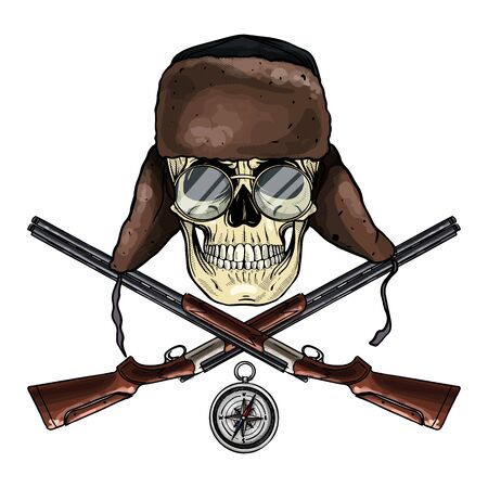 Hand drawn sketch, color skull with hat with ear flaps, rifles, compass and glasses Illustration