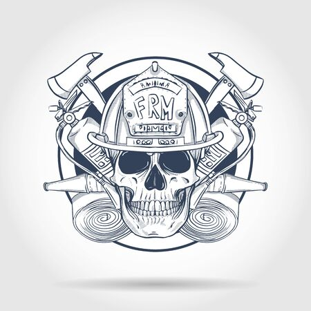 Croquis dessiné à la main, crâne de pompier avec casque, extincteur, hache et lance à incendie. Affiche, conception de flyer