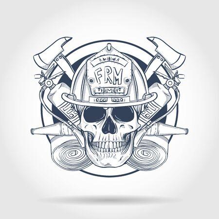 Schizzo disegnato a mano, teschio di vigile del fuoco con casco, estintore, ascia e manichetta antincendio. Poster, design di volantini