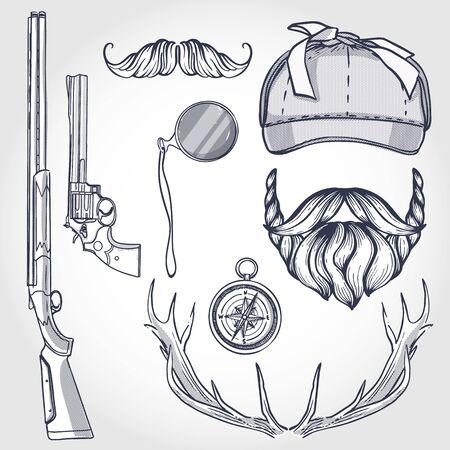 Attributes of hunter icon Illusztráció