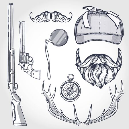 Attributes of hunter icon Illustration