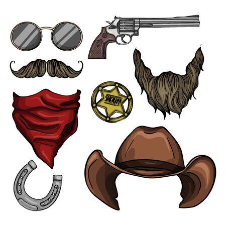 Boceto dibujado a mano, atributos del sheriff: revólver, sombrero, herradura, lazo, búsqueda de buscado Ilustración de vector