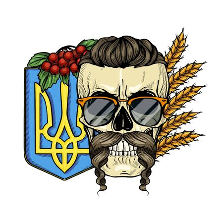 Hand drawn color sketch, skull with Ukrainian emblem, mustaches, branches of viburnum, spikes of wheat, sunglasses. Poster, flyer design Ilustración de vector