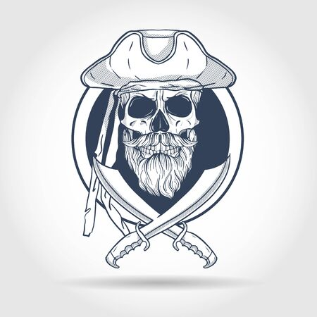 Hand drawn sketch, pirate skull with sword, beard and mustaches and pirate hat. Poster, flyer design Imagens - 128541950