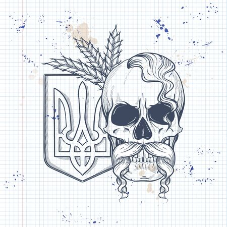 Notebook page sketch design, skull with Ukrainian national emblem, mustaches, oseledets hairstyle, spikes of wheat
