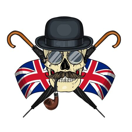 Color british skull with hat bowler, mustaches, rimless eyeglasses, umbrella Ilustracja