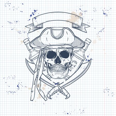 Sketch, pirate skull with sword, mustaches, pirate hat and a bottle of rum. Poster, flyer design on a notebook page