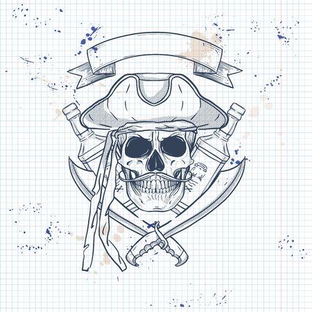 Skizze, Piratenschädel mit Schwert, Schnurrbärten, Piratenhut und einer Flasche Rum. Poster, Flyerdesign auf einer Notizbuchseite