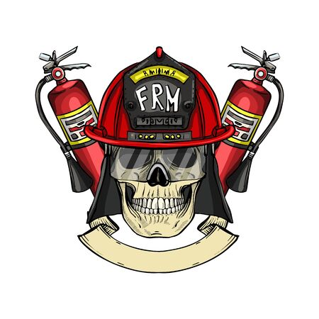 Hand drawn color sketch, fireman skull with helmet, glasses and fire extinguisher. Poster, flyer design