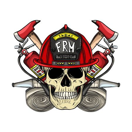 Hand drawn color sketch, fireman skull with helmet, fire extinguisher, axe and firehose. Poster, flyer design