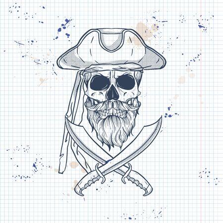 Skizze, Piratenschädel mit Schwert, Bart und Schnurrbärten und Piratenhut. Poster, Flyerdesign auf einer Notizbuchseite