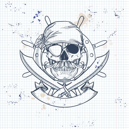 Sketch, pirate skull with sword, mustaches, pirate head scarf, eye patch and ships steering wheel. Poster, flyer design on a notebook page Ilustracja