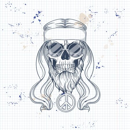 Hand drawn sketch, hippie skull with hair, sunglasses and rainbow. Poster, flyer design on a notebook page