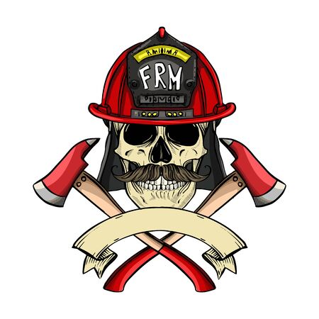 Hand drawn color sketch, fireman skull with helmet, mustaches and axe. Poster, flyer design