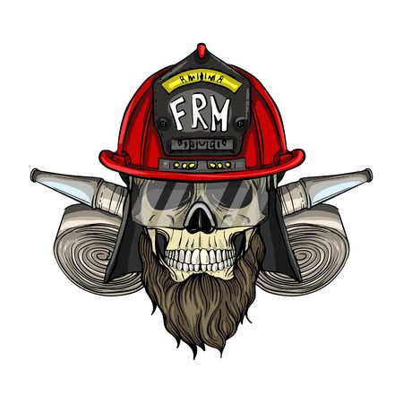 Hand drawn color sketch, fireman skull with helmet, beard, firehose and glasses. Poster, flyer design