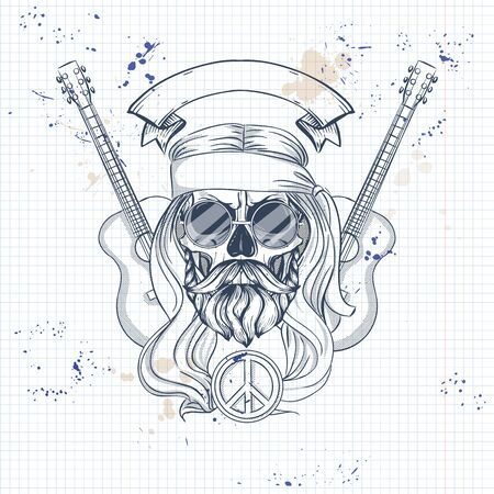 Hand drawn sketch, hippie skull with hair, sunglasses and guitar. Poster, flyer design on a notebook page Çizim