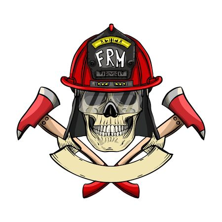 Hand drawn color sketch, fireman skull with helmet, glasses and axe. Poster, flyer design