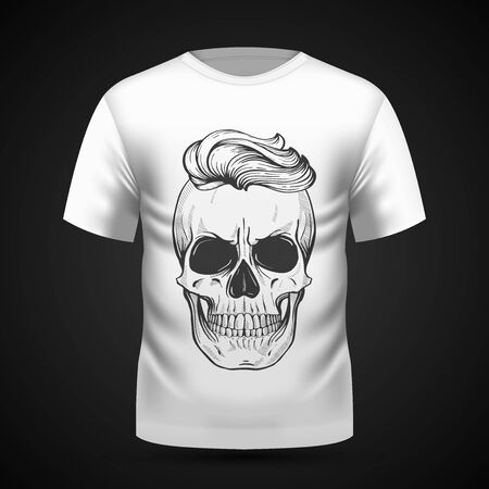 Angry skull with hairstyle on T-shirt . Vector illustration