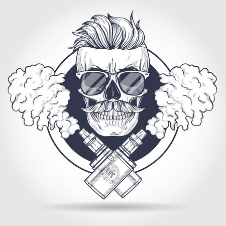 Sketch of hipster skull with mustaches, vaporizer cigarette, liquid to fill, sunglasses and clouds of smoke Zdjęcie Seryjne - 128721315