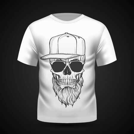 Angry skull with beard, hat and sunglasses on T-shirt . Vector illustration