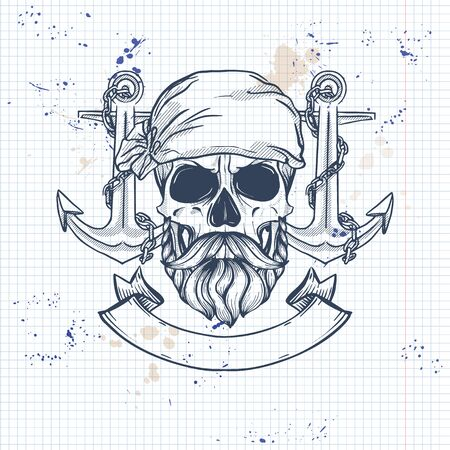 Sketch, pirate skull with anchor, beard and mustaches and pirate head scarf. Poster, flyer design on a notebook page Ilustração
