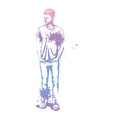 Vector man model dressed in jeans, shoes and t-shirt, splash stile