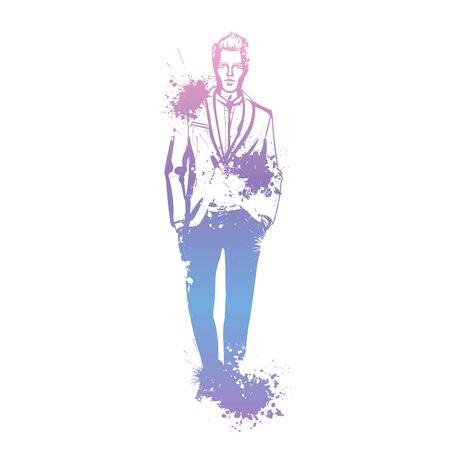 Vector man model dressed in pants, shirt, jacket and sneakers, splash stile Illustration