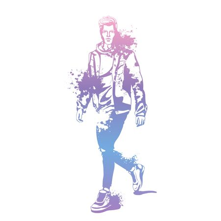 Vector man model dressed in jeans, hoody, jeans jacket and sneakers, splash stile