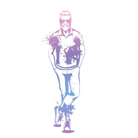 Vector man model dressed in pants t-shirt and sneakers splash stile