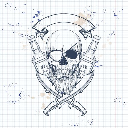 Sketch, pirate skull with sword, beard, eye patch and a bottle of rum. Poster, flyer design on a notebook page Ilustração