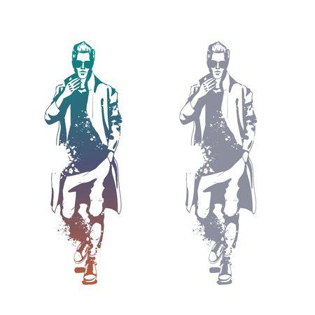 Vector man model dressed in pants, t-shirt and long coat, splash stile Illustration