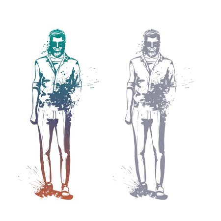 Vector man model dressed in pants, t-shirt and moccasins, splash stile