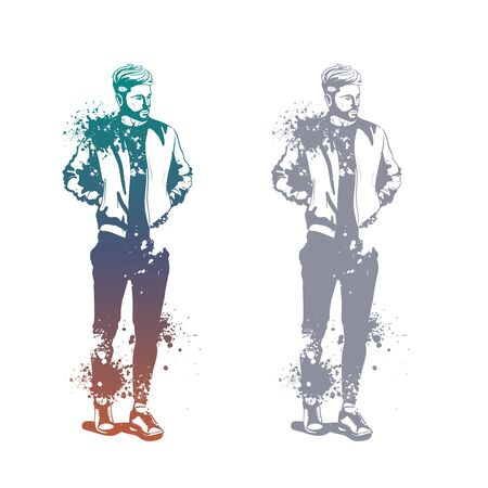 Vector man model dressed in sports trousers, t-shirt, bomber jacket and sneakers, splash stile Stockfoto - 129616175