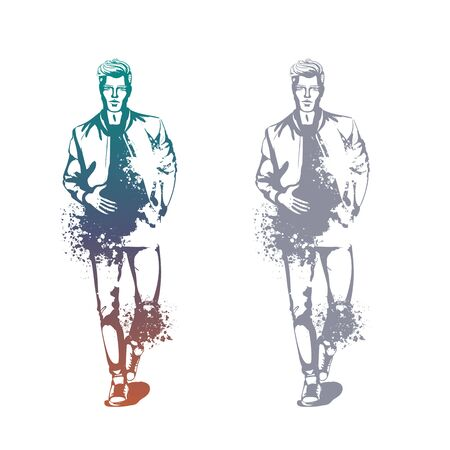 Vector man model dressed in jeans, t-shirt, bomber jacket and sneakers, splash stile Stockfoto - 129687875
