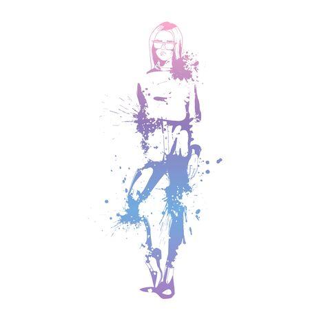 Sketch of Fashion look girl with splashes Ilustração