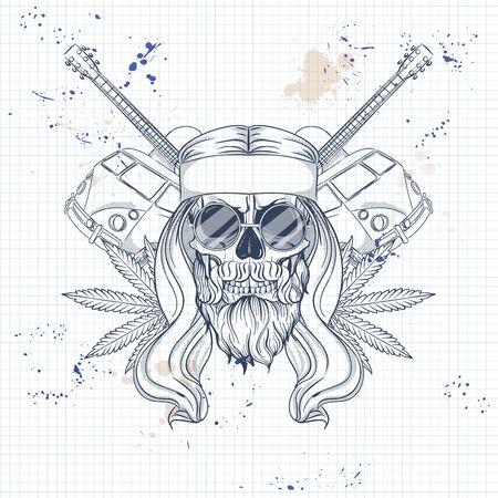 Boceto dibujado a mano, calavera hippei con gafas de sol, cabello largo, autobús hippie, guitarra y hoja de cáñamo. Póster, diseño de volante en una página de cuaderno