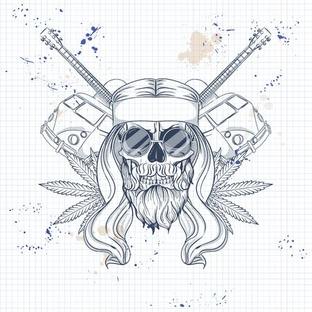 Hand drawn sketch, hippei skull with sunglasses, long hair, hippie bus, guitar and hemp leaf. Poster, flyer design on a notebook page