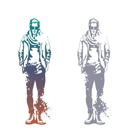 Vector man model dressed in jeans, t-shirt, jacket, sneakers, scarf and sunglasses, splash stile Ilustracja