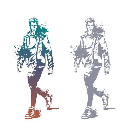Vector man model dressed in jeans, hoody, jeans jacket and sneakers, splash stile
