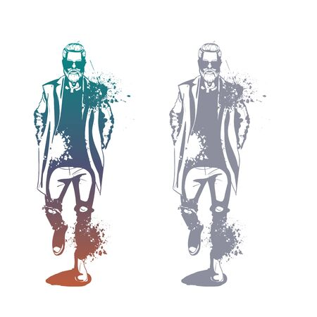 Vector man model dressed in jeans, shirt, pullover, coat anb boots, splash stile Illusztráció