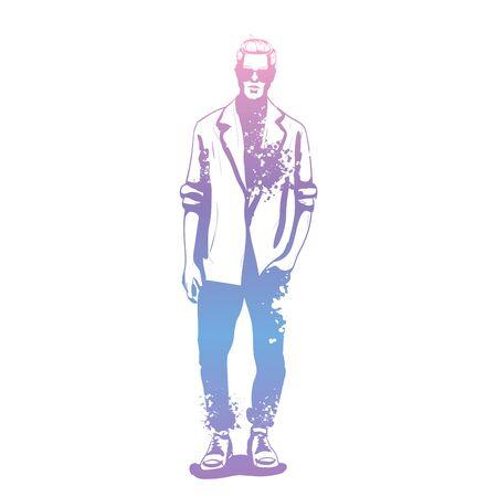 Vector man model dressed in jeans, shirt, linen jacket and sneakers, splash stile 矢量图像