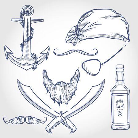 Hand drawn sketch, skull with pirate attributes Illusztráció