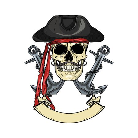 Hand drawn color sketch, pirate skull with anchor, mustaches and pirate hat. Poster, flyer design